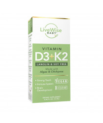 VITAMIN D3+K2 LIQUID DROPS - FOR INFANTS, TODDLERS, AND CHILDREN - VEGAN FRIENDLY